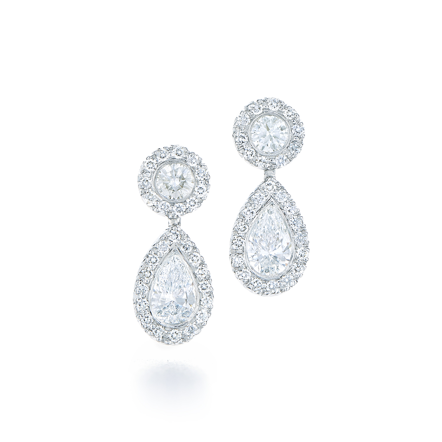 diamond earring pamona pear earrings demeter rectangular shape halo white