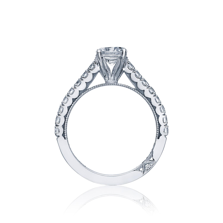 Crescent round center diamond engagement ring